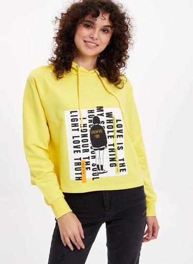 DeFacto Kapüşonlu Baskılı Regular Fit Sweatshirt Sarı